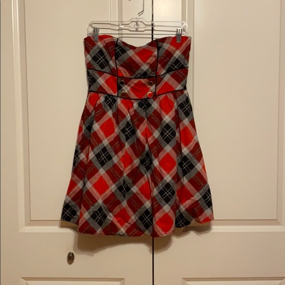 red and black checkered dress